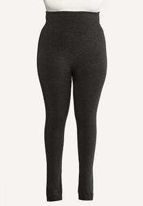 Plus Size Charcoal Fleece Leggings
