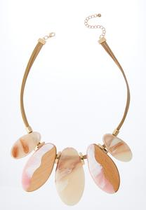 Wood Lucite Bib Necklace