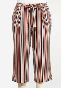 Plus Size Cropped Rust Stripe Pants