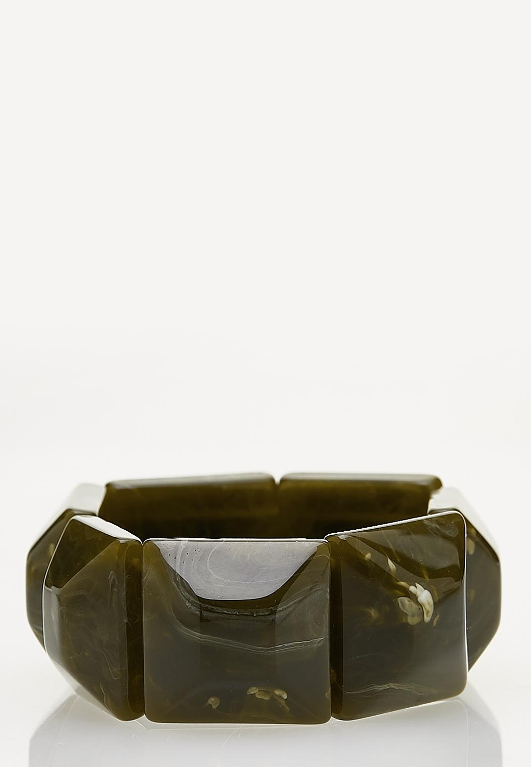 Green Resin Stretch Bracelet