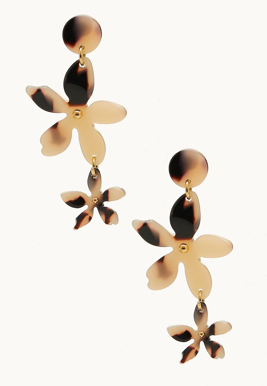 Lucite Linear Flower Earrings