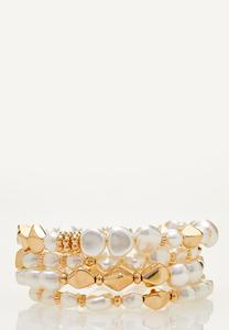 Ivory And Gold Pearl Bracelet