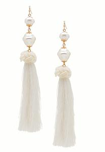 Ivory Pearl Tassel Earrings