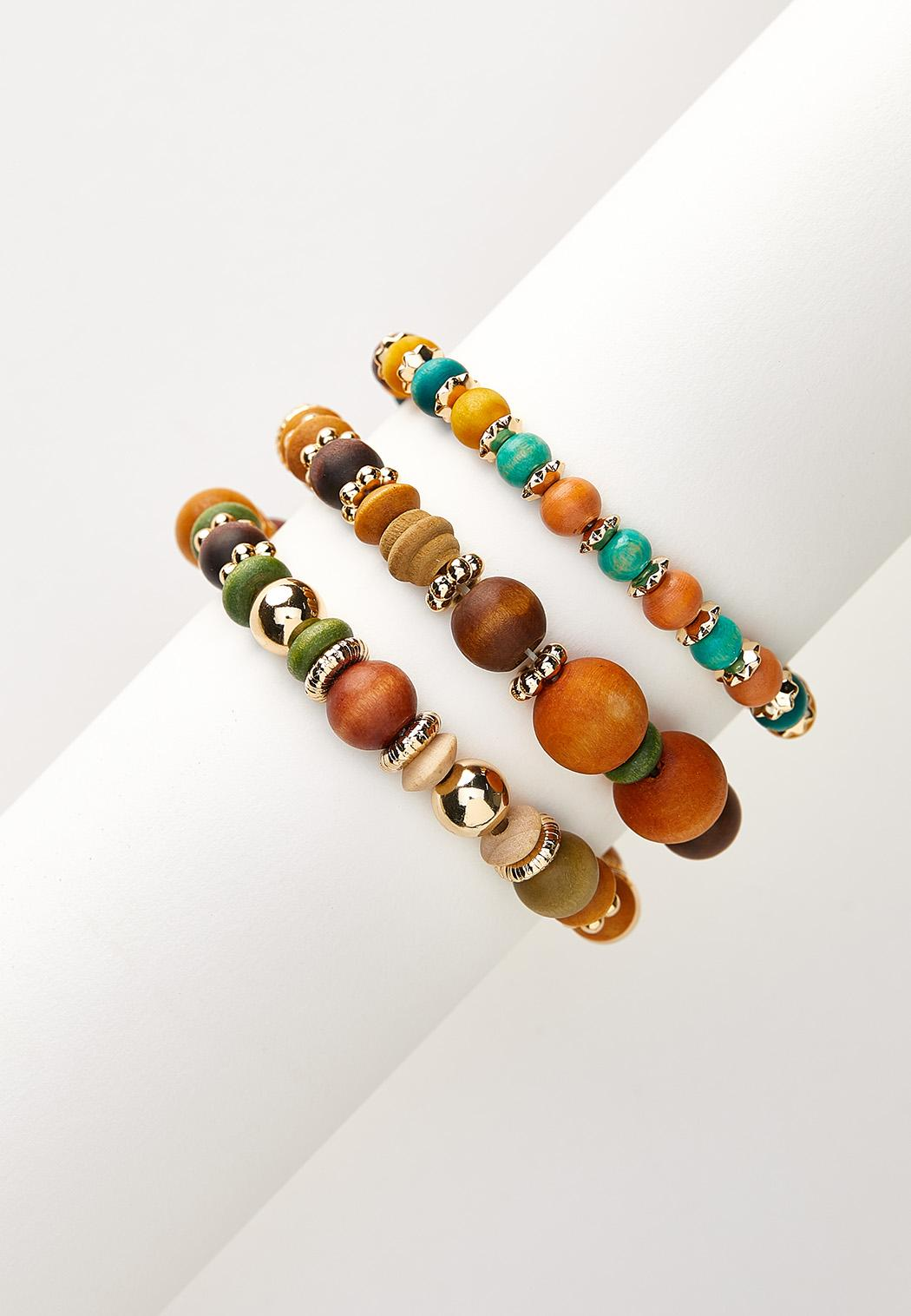 Triple Multi Bead Bracelet Set