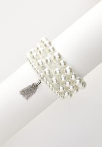 Statement Pearl Stretch Bracelet Set