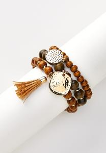Wood Bead Charm Bracelet Set