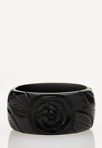 Etched Floral Bangle Bracelet