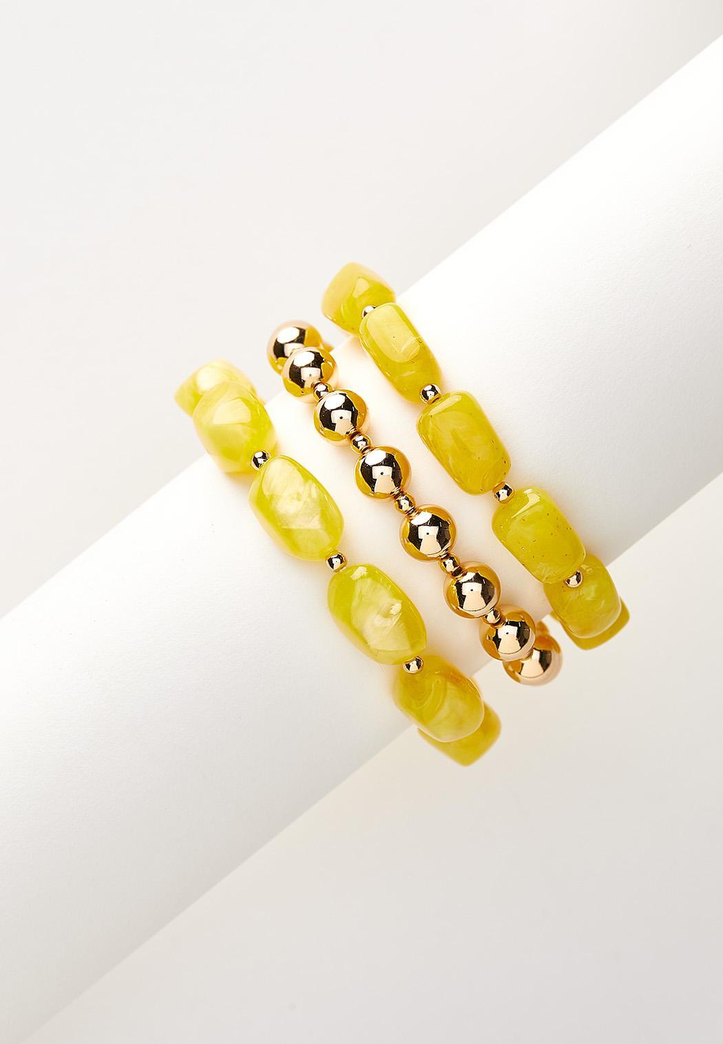 Gold Ball Stretch Bracelet Set