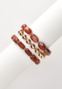 Gold Ball Stretch Bracelet Set
