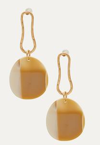 Shell Disc Hammered Metal Earrings