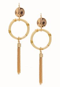 Bamboo Hoop Tassel Earrings