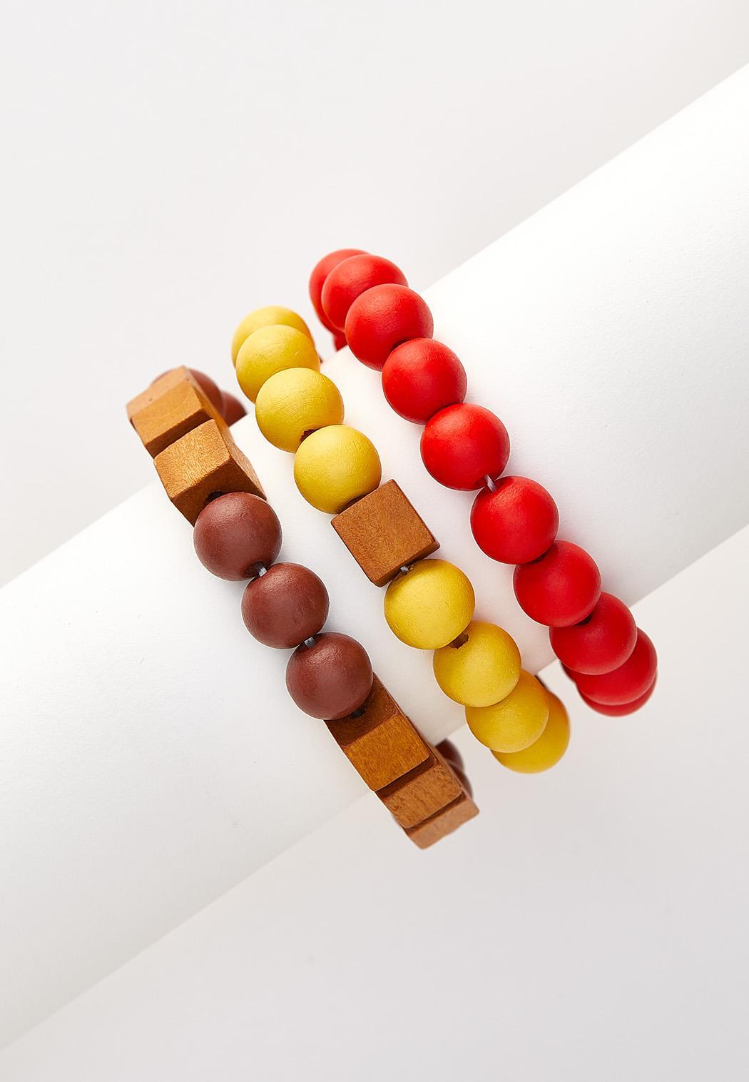 Wood Bead Stretch Bracelet Set