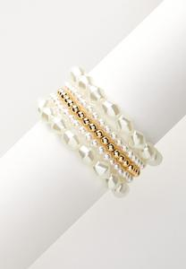 Pearl Gold Ball Stretch Bracelet Set
