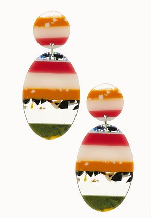 Multi Striped Lucite Earrings