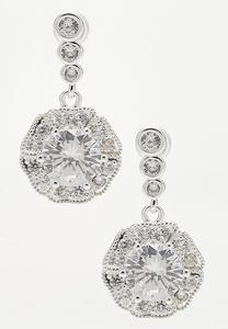 Cubic Zirconia Halo Dangle Earrings
