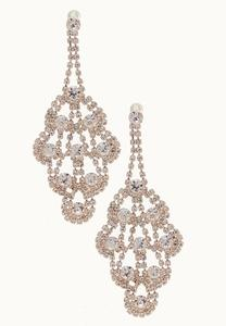 Rose Gold Rhinestone Chandelier Earrings