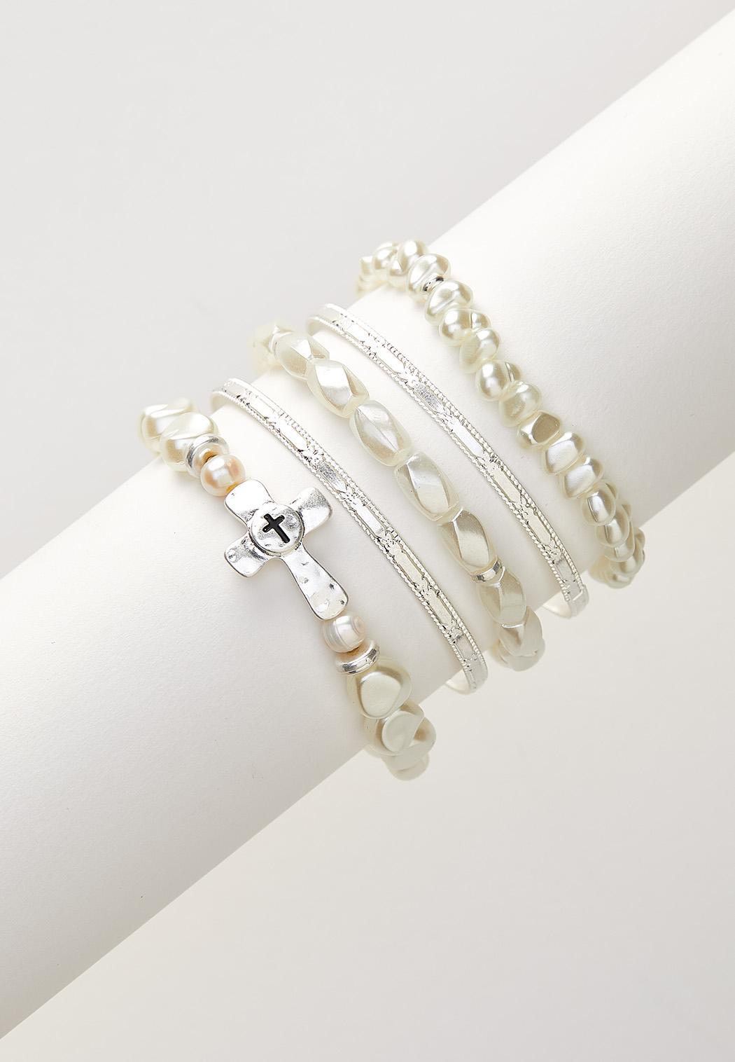 Inspirational Pearl Bracelet Set