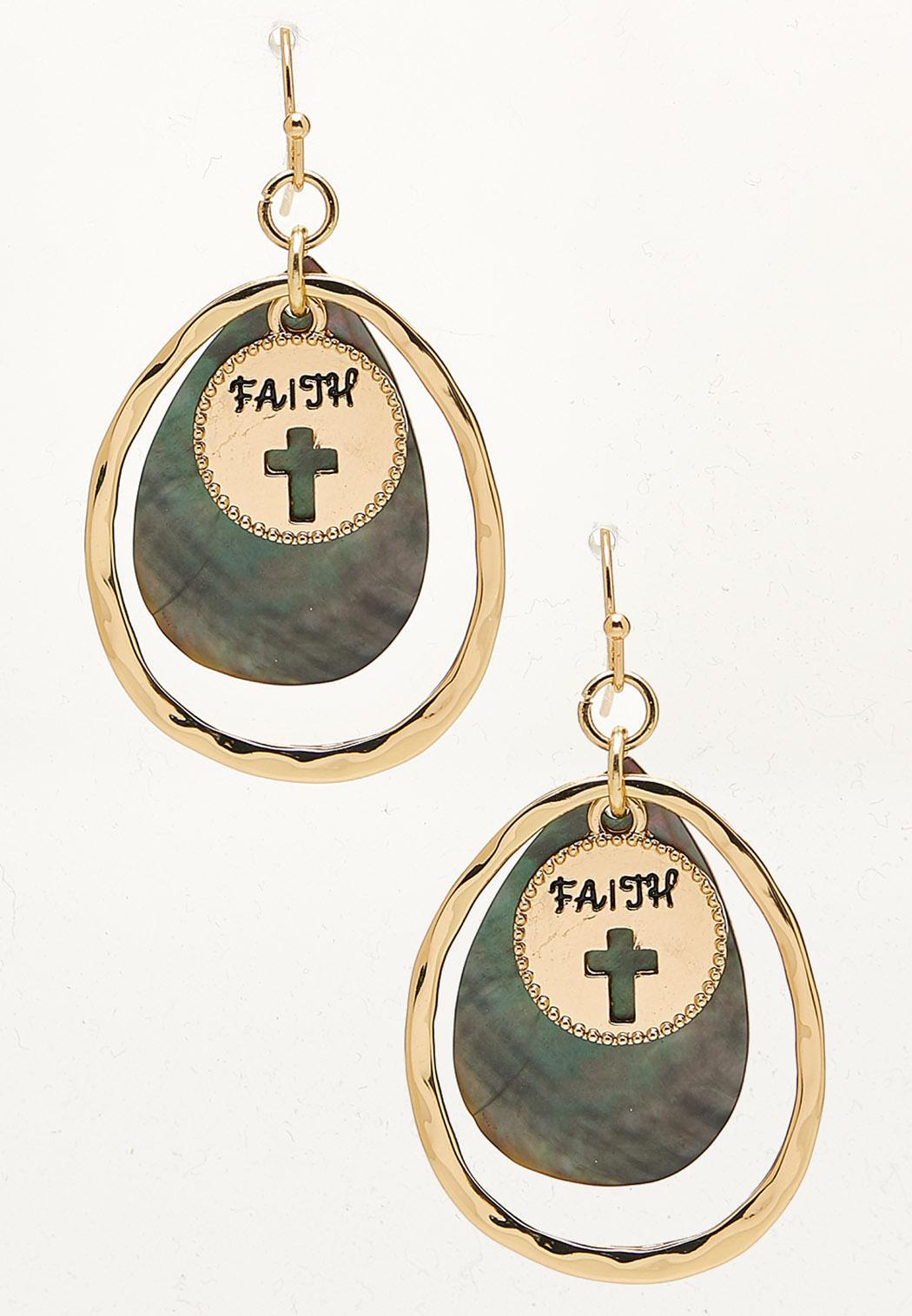 Faith Disc Shell Dangle Earrings