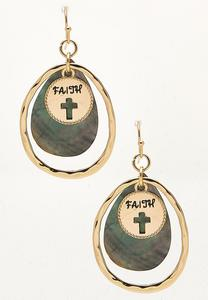 Faith Disc Shell Dangle Earrings