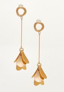Linear Metal Petal Post Earrings
