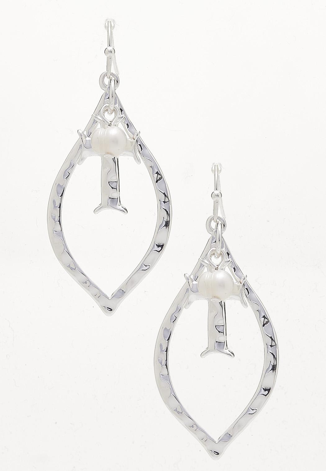 Cross Charm Silver Earrings