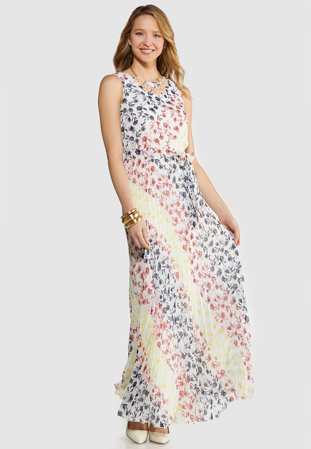 Pleated Tie Waist Maxi Dress