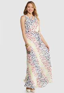 Pleated Tie Waist Maxi Dress