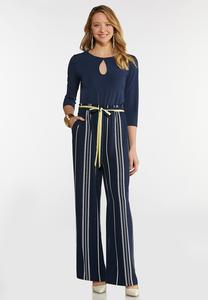 Petite Striped Keyhole Jumpsuit