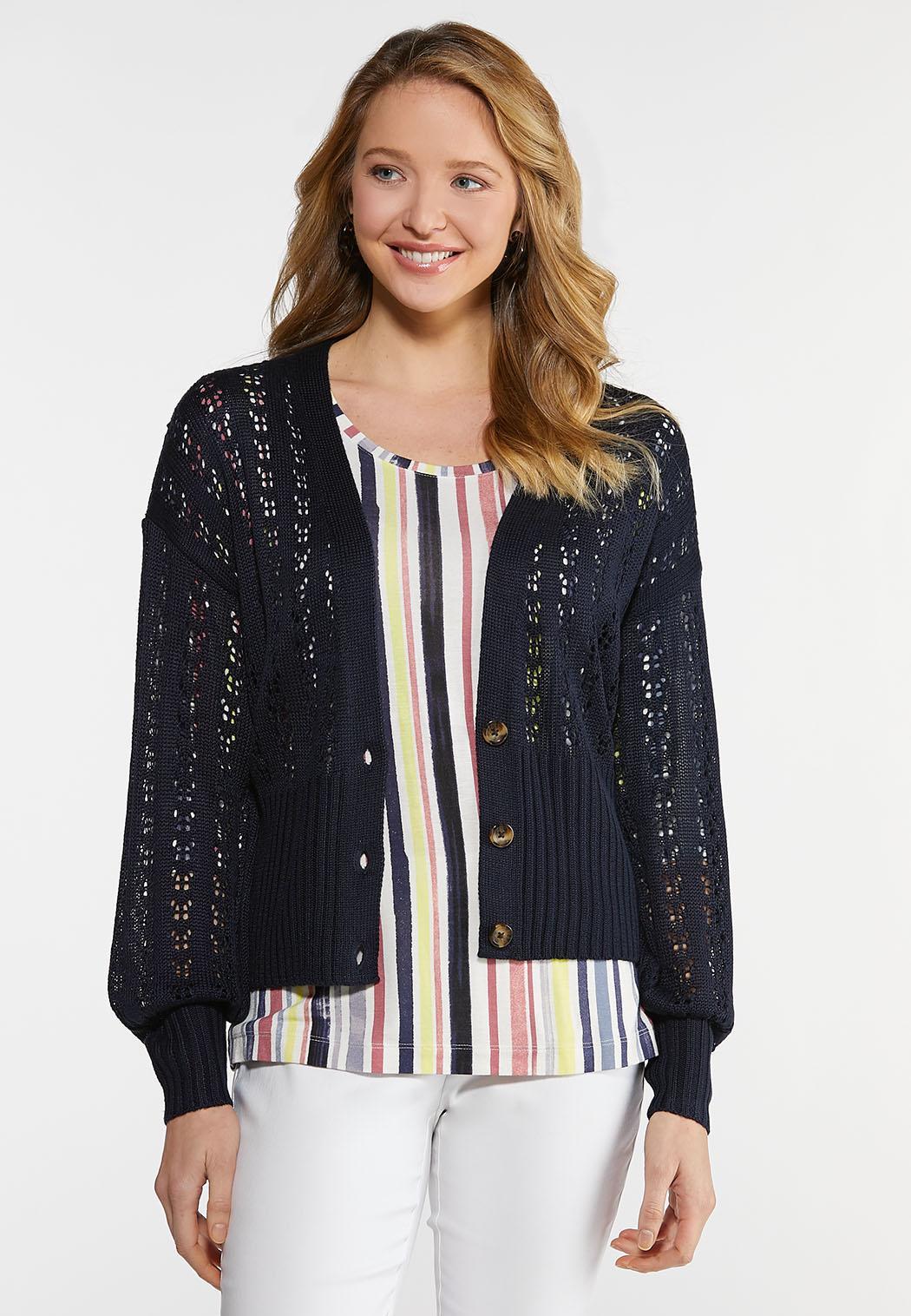 Plus Size Open Knit Cardigan