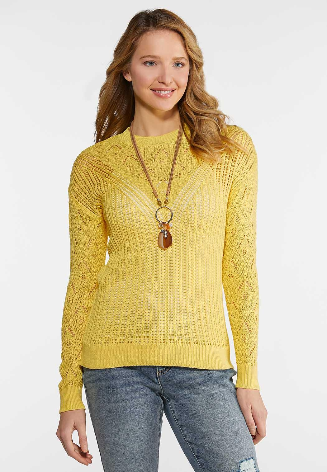 Plus Size Yellow Pullover Sweater