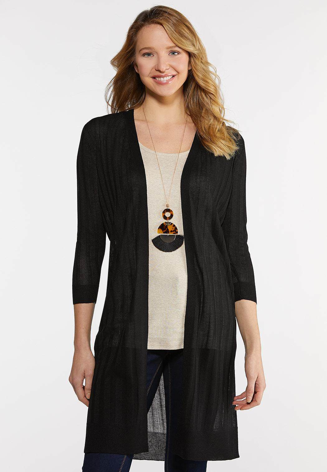 Sheer Black Cardigan Sweater