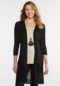 Plus Size Sheer Black Cardigan Sweater