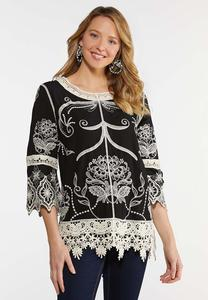 Plus Size Crochet Embroidered Black Top