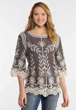Plus Size Crochet Embroidered Gray Top