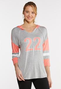 Plus Size Sporty Striped Sleeve Hoodie