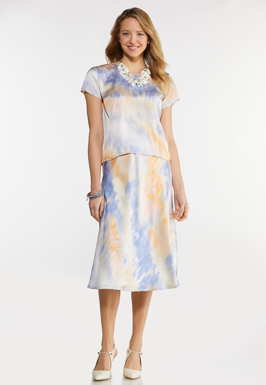 Satin Watercolor Skirt Set