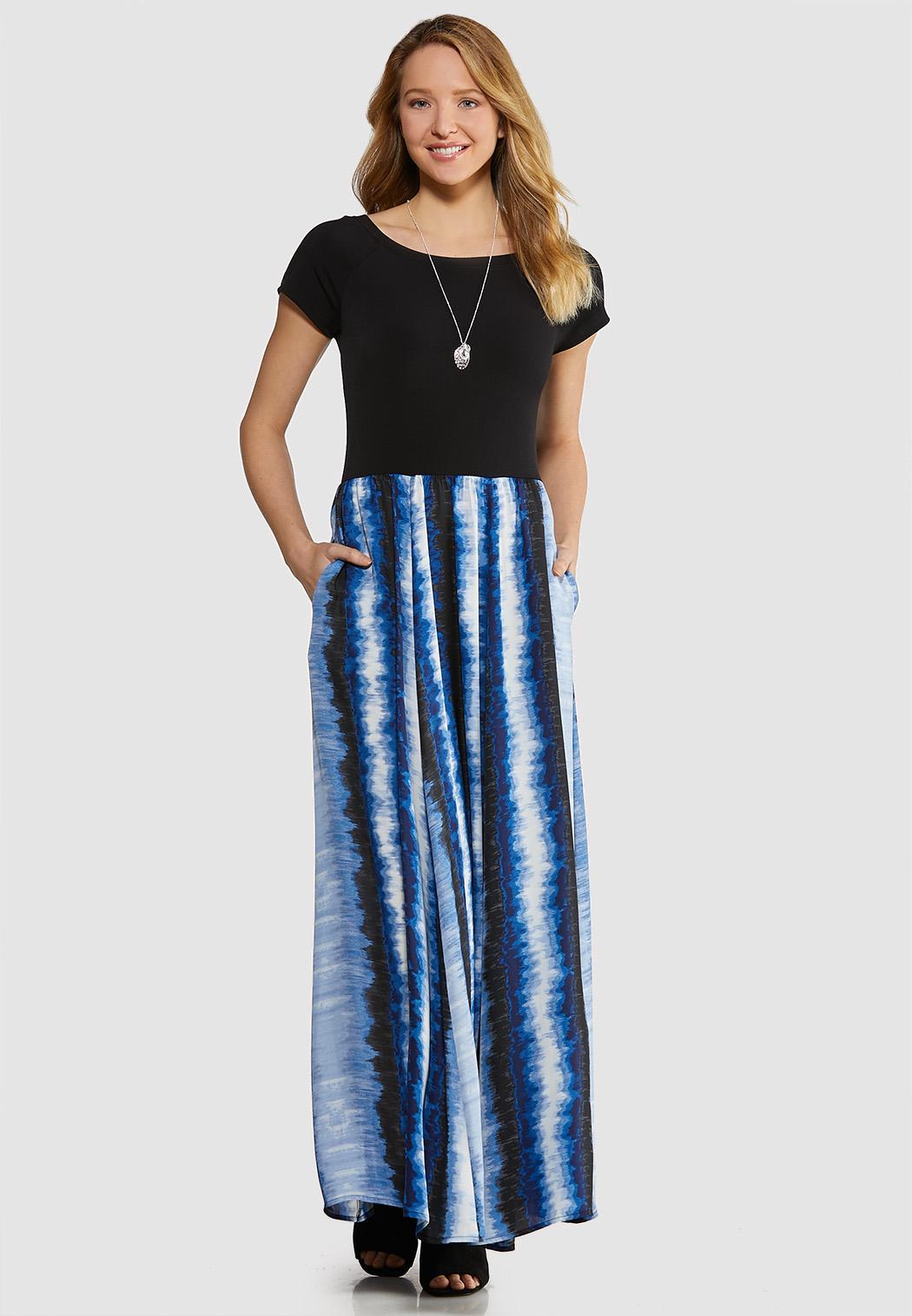 Plus Size Solid Tie Dye Maxi Dress