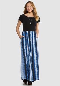 Plus Size Solid Tie Dye Maxi Dress