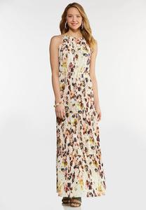 Plus Size Floral Pleated Maxi Dress