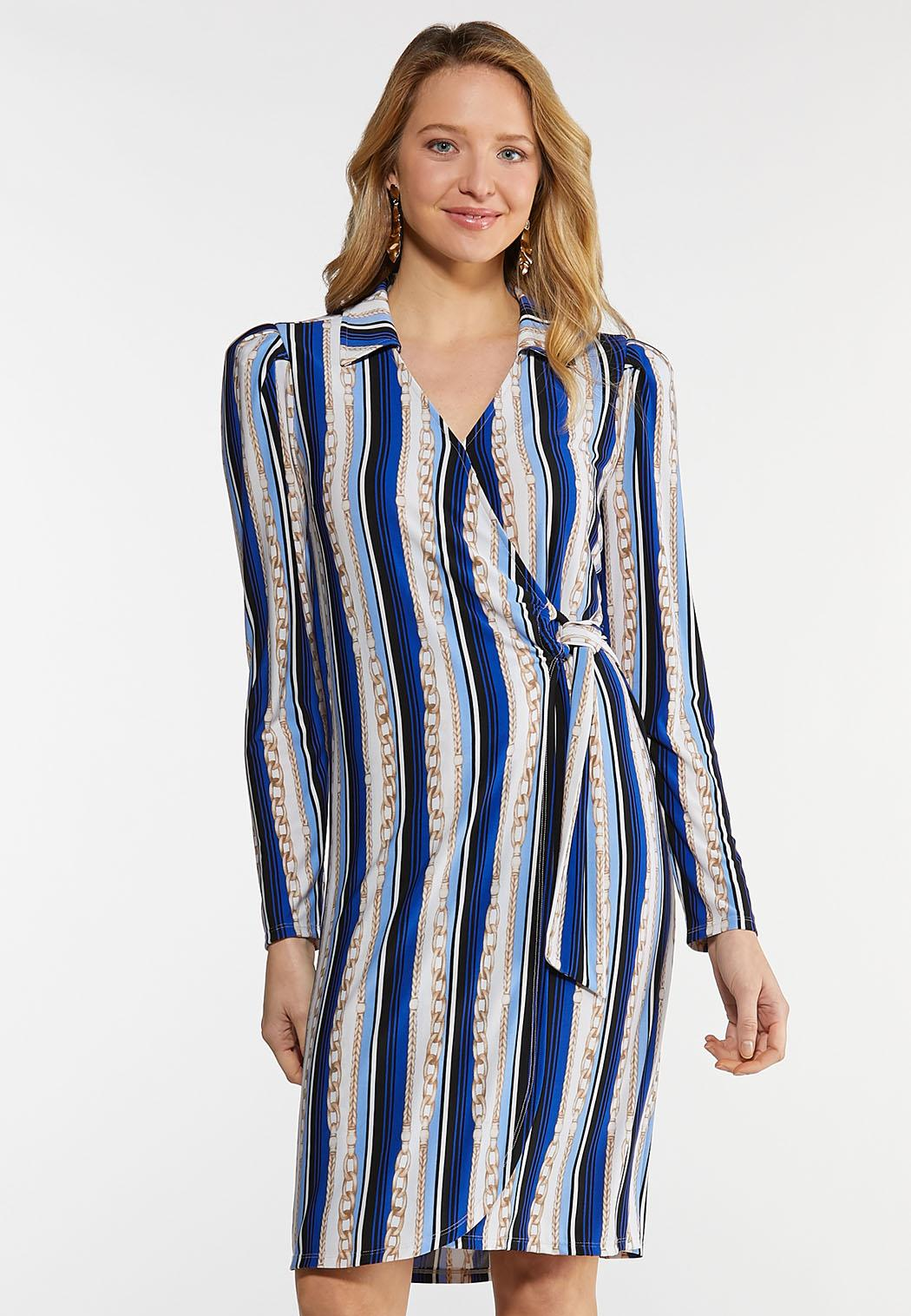Status Stripe Wrap Dress