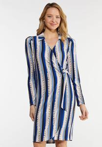 Plus Size Status Stripe Wrap Dress