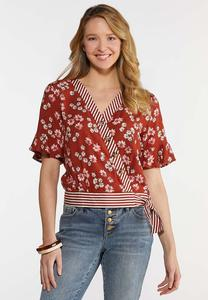 Plus Size Rust Floral Tie Waist Top