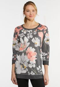 Plus Size Pink Floral Athleisure Top