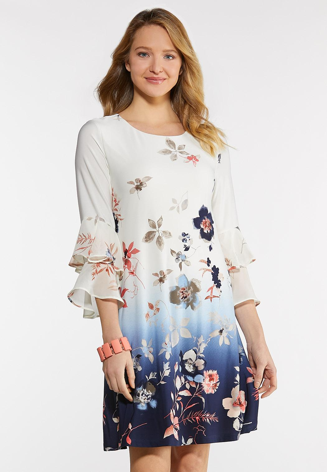 Plus Size Ombre Floral Ruffled Dress