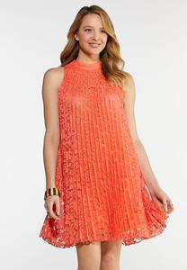 Pleated Lace Swing Dress