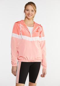 Plus Size Half Zip Colorblock Jacket
