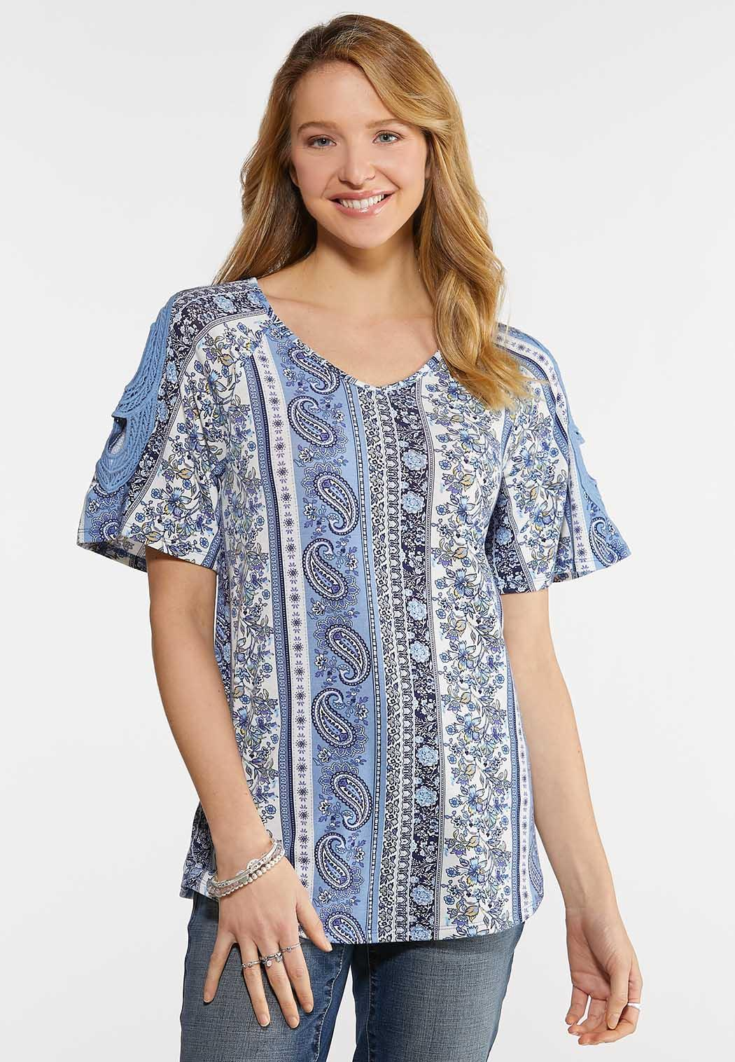 Paisley Crochet Sleeve Top