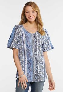 Plus Size Paisley Crochet Sleeve Top