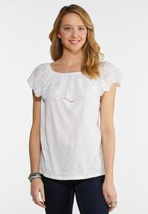Plus Size Eyelet Flounced Top