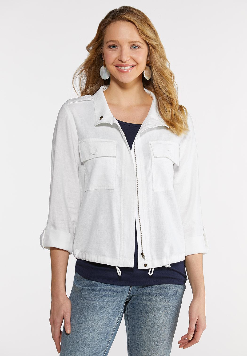 Plus Size Linen Utility Jacket